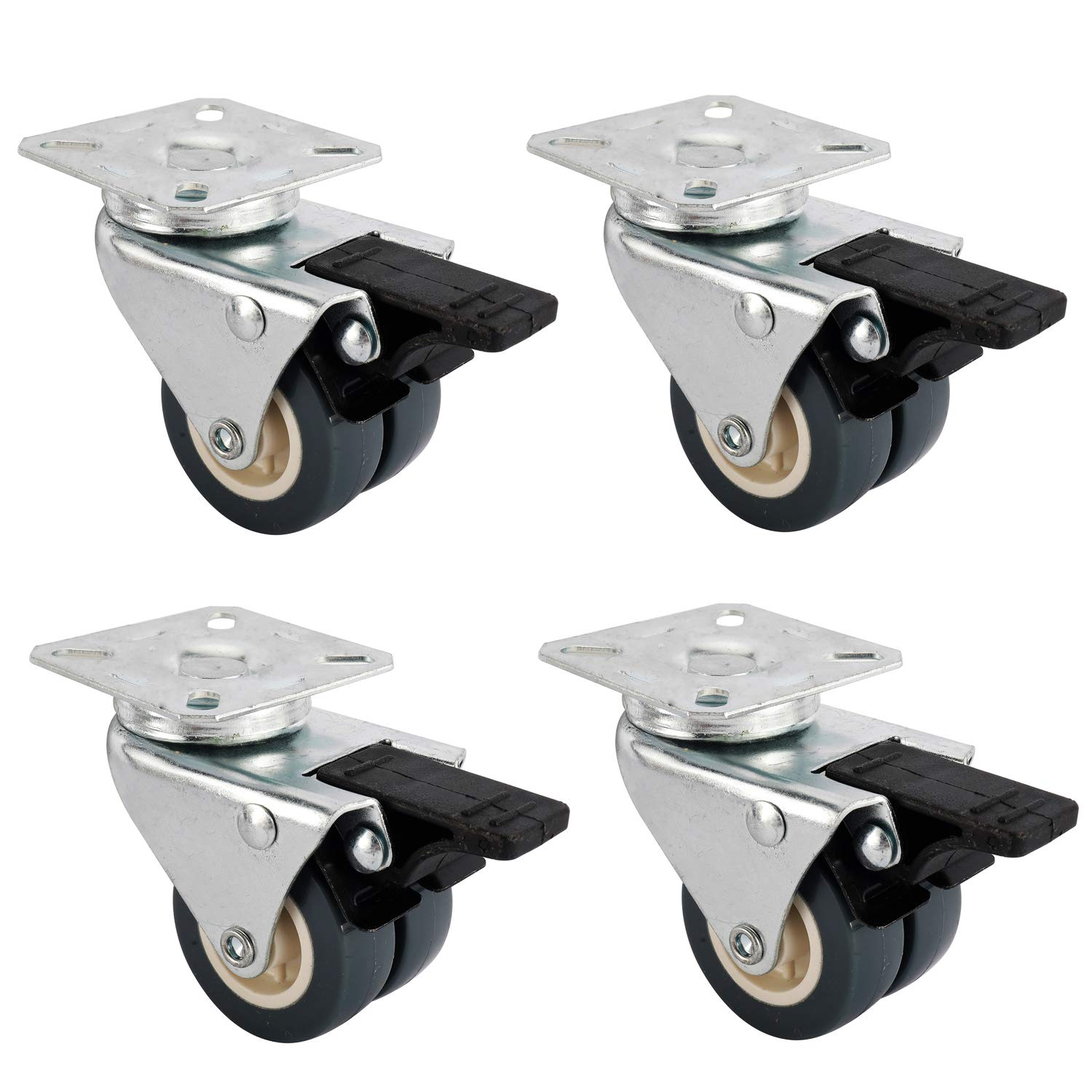 Artilife 4Pack 2Inch Swivel Caster Dual Wheel Heavy Duty Casters with Brake Safety Locking Protect Hardwood Floors, 154Lbs Per Casters Max Load