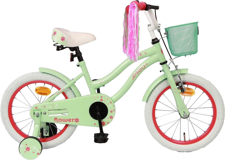 Amigo Flower - Bicicleta Infantil de 16 Pulgadas - para niñas de 4 a 6 años - con V-Brake, Freno de Retroceso, Cesta, Timbre y ruedines - Verde