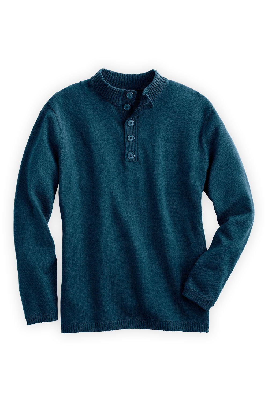 Fair Indigo Fair Trade Organic Men's Button Pullover Sweater (M, Deep Teal)