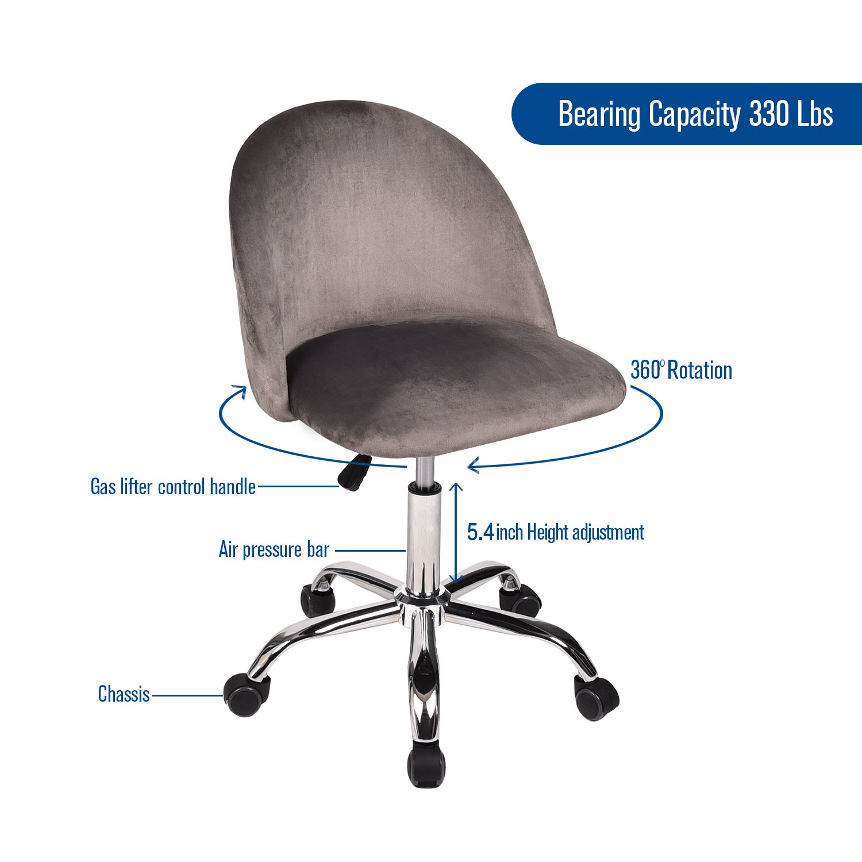Height Adjustable Comfort Seat Bar Salon Spa Flannel Swivel Drafting Stool Royal Blue YOURLITE Set of 2 Office Desk Chair