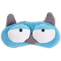 ❤️ HugSnug ❤️ - Cute Blue Monster Kids Sleep Mask for Boys and Girls Sleeping, Eye Mask Soft And Blocks Light with Adjustable Straps (Blue)
