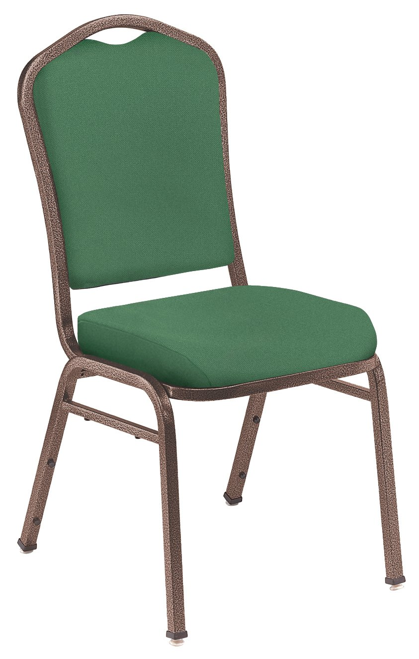 NPS 9356-CV-CN Fabric-Upholstered Silhouette Crown Back Stack Chair with Steel Copper Vein Frame, 300-Pound Capacity, 17-Inch Length x 23-Inch Width x 36-Inch Height, Hunter Green, Carton of 4 National Public Seating