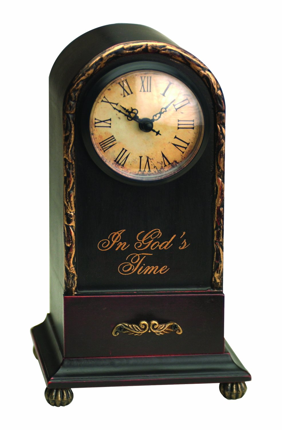 Manual Time Well Spent Table Top Analog Clock, In God's Time, 9.5-Inch - Inspirational wooden table top clock with round, inset face Stands 9.5-Inch tall on a sturdy 5.25-inch footed base Antique look from the rounded and distressed feet to the distressed gold trim finish - clocks, bedroom-decor, bedroom - 71d xmaO0nL -