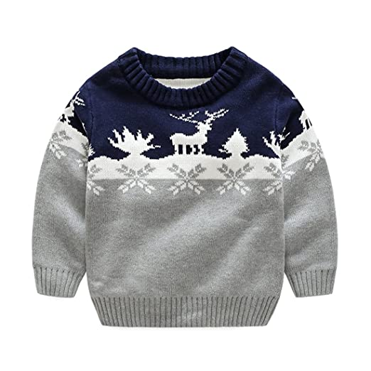 wellwits kids wear snowflake reindeer boys and girls christmas sweater grey 120 - Girls Christmas Sweater