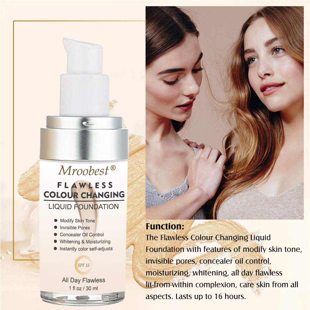 Flawless Finish Foundation,Colour Changing Liquid Foundation, Liquid Foundation Cream,Moisturizing Liquid Cover Concealer for All Skin Types, SPF 15,1 Fl Oz by CIDBEST (Image #5)