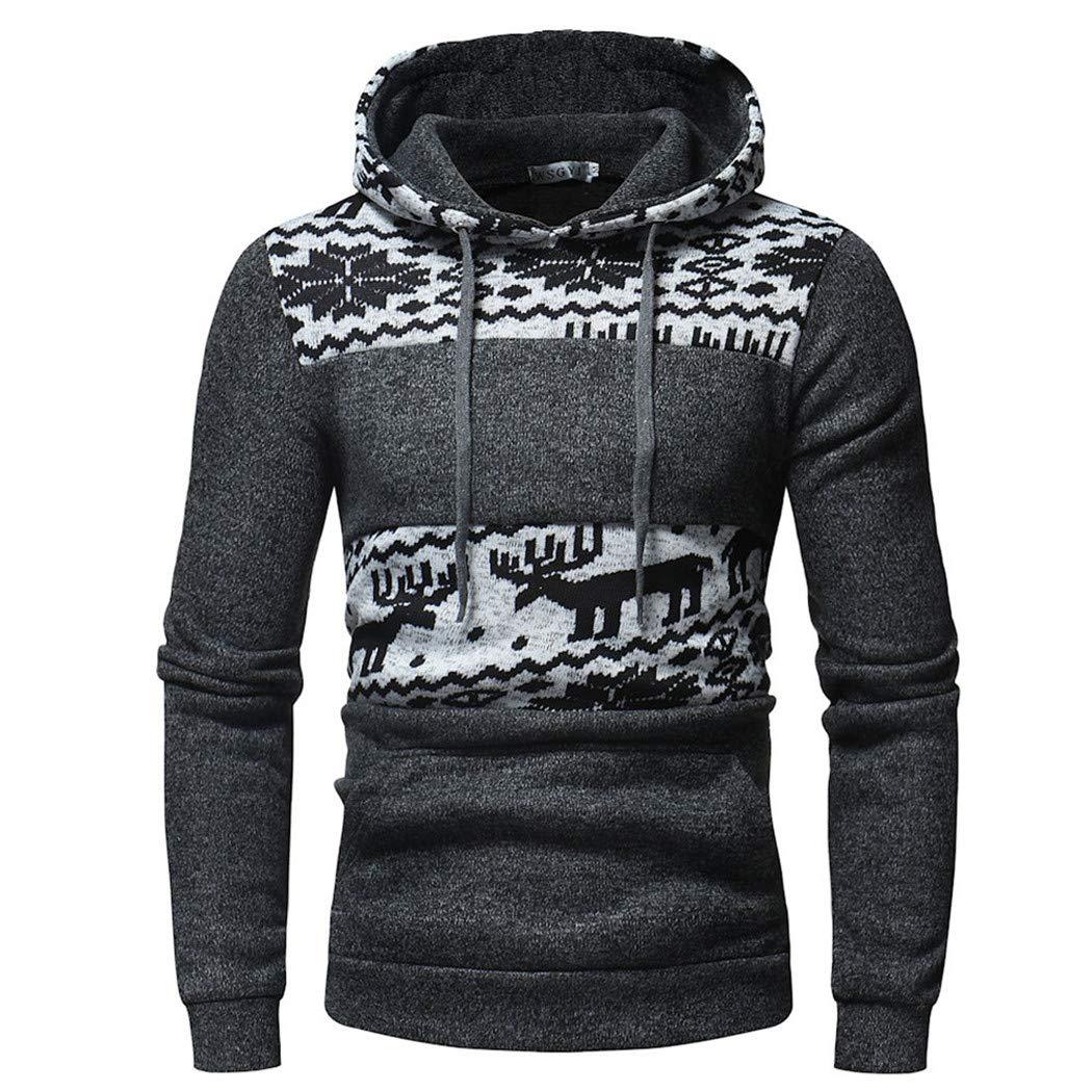 Alixyz メンズ ドローストリング スウェットシャツ プルオーバー トップス ジャケット クリスマス パーカー ファッション スノーフラワー プリント フード付き トップス B07H9CLDGK グレー Large