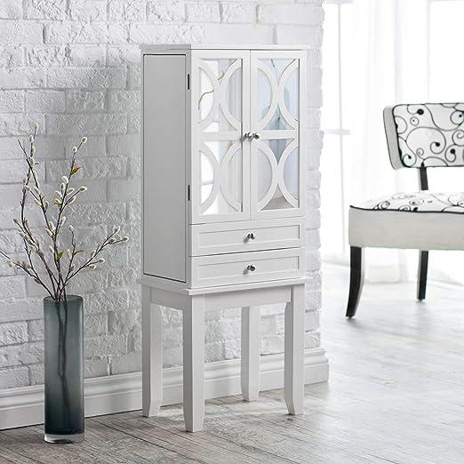 Amazon Com Home Collection Modern Luxe Lattice Mirrored White Finish Freestanding Jewelry Armoire Storage Cabinet Jewelry Box Home Kitchen