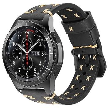 iBazal Gear S3 Frontier Classic Correa Cuero Piel 22mm Banda Pulseras Compatible con Galaxy Watch 46mm SM-R805/R800,Huawei GT/2 Classic/Honor ...