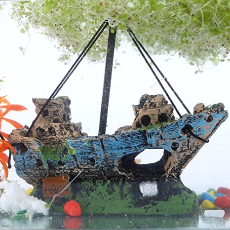 Sixrun Acuario Artificial de Agua Decoraciones Ornamento del Tanque de Peces Restos naufragio Barco hundido Destructor