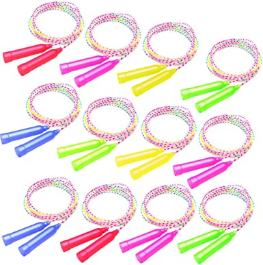 Elcoho 10 Pack Colorful Jump Rope Set Adjustable Plastic Jump Rope Skipping Rope Outdoor Jump Ropes Great Party Favor
