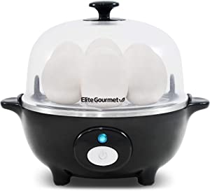 Elite Cuisine EGC-007B Easy Electric Egg Poacher, Omelet & Soft, Medium, Hard-Boiled Egg Cooker with Auto-Shut off and Buzzer, 7 Egg Capacity, Black