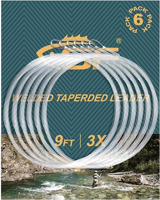 6 St/ück 2,7 m Nylon geschwei/ßt SF Angelvorfach zum Fliegenfischen mit Schlaufe