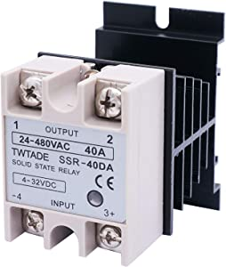 TWTADE SSR-40 DA 40A DC 3-32V to AC 24-380V SSR Solid State Relay + Heat Sink