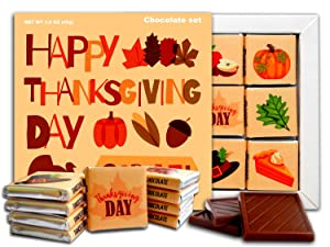 DA CHOCOLATE Candy Souvenir HAPPY THANKSGIVING DAY Chocolate Gift Set 5x5in 1 box (Leaves)
