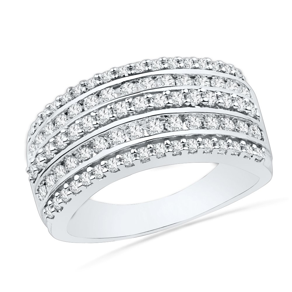10KT White Gold Round Diamond Fashion Band Ring (1 cttw)