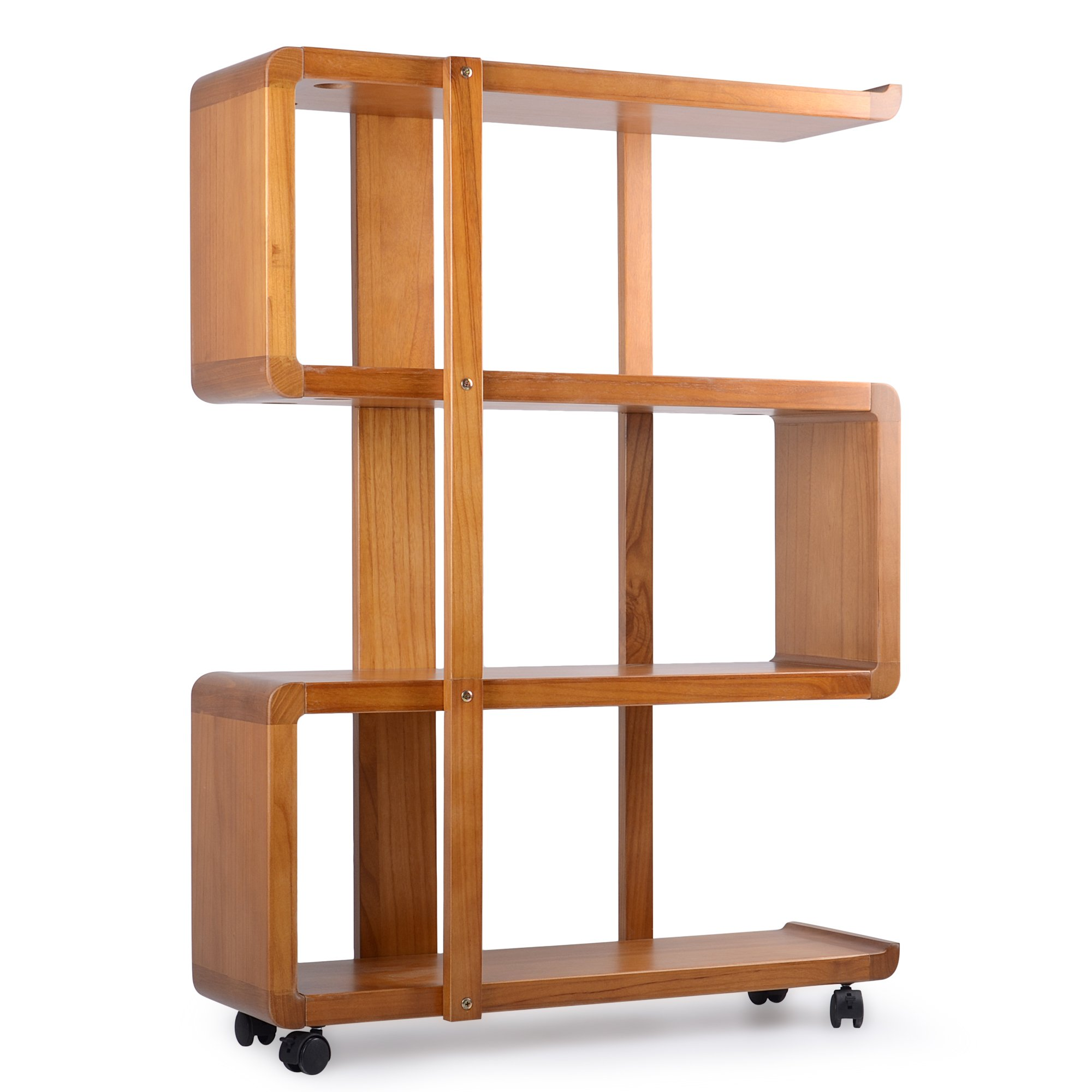 Kendal 4 Tiers Dismountable Wood Bookshelf Rack Organizer with Lockable Casters WBS01AK