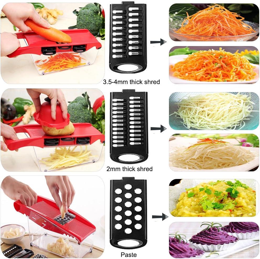 Trancheuse Mandoline multifonctionnelle,coupe-l/égumes,broyeur de nourriture,hachoir /à r/âpe,6 lames tranchantes en acier inoxydable interchangeables avec /éplucheur,coupe-pommes de terre,tomate,oignon