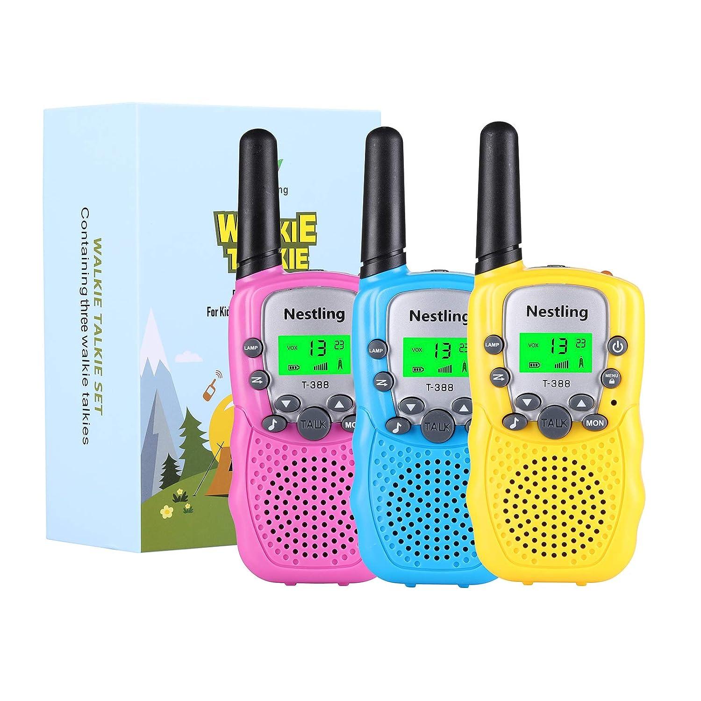 Nestling Walkie Talkie Niños, 3 Pack Walkie Talkies para Niños 8 Canales Función de VOX, Larga Distancia 3KM, Linterna Incorporado Juguete Regalo para ...