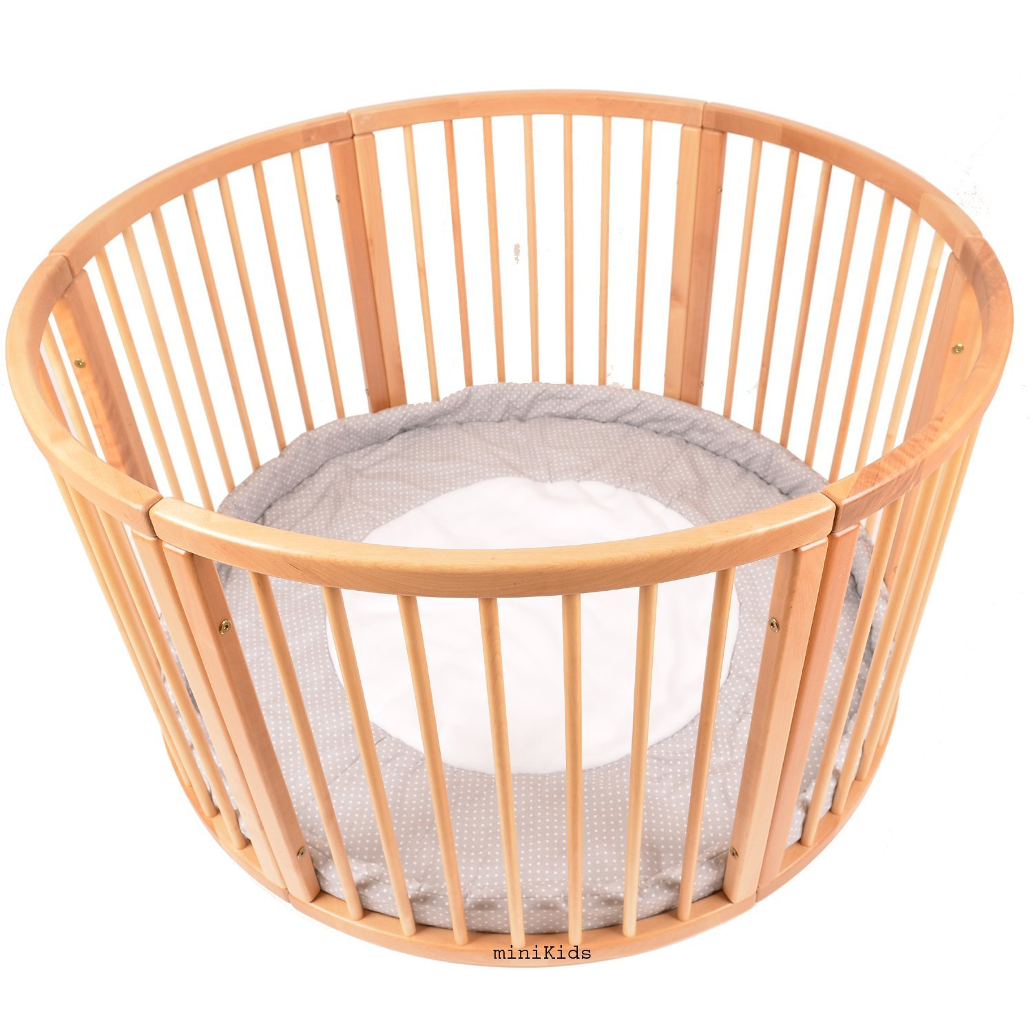 VERY LARGE WOODEN BABY PLAYPEN (Ø 120cm) WITH PLAYMAT (Stripes) miniKids PP15021601
