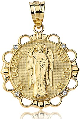 Amazon Com 10k Gold Archangel St Gabriel Pray For Us Diamond Round Medal Pendant Jewelry