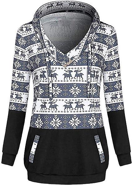 WARMWORD Sudaderas Mujer Capucha Impresión navideña en Contraste, Mujeres con Camisa de Cuello Diagonal y Blusa Tops Sudadera con Capucha Mujer Jersey de Moda Invierno Suéter Casual: Amazon.es: Ropa y accesorios
