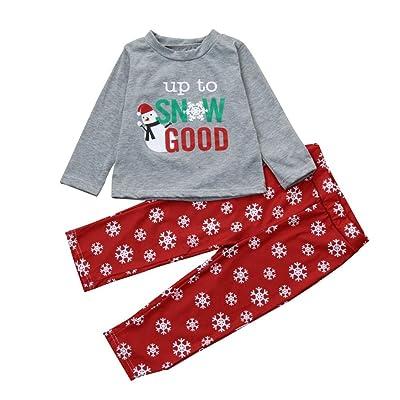 Costume de Noël, Tpulling Garçon fille lettre shirt Pantalon Noël ensemble vêtements de famille
