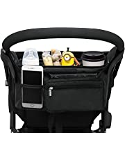 Universal Stroller Organizer with 2 Insulated Cup Holders, Lupantte Stroller Accessories, for Carrying Diaper, iPhone, Toys & Snacks, Fits Britax, Uppababy, Baby Jogger, Bugaboo and BOB Stroller. etc.