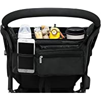 Universal Stroller Organizer with 2 Insulated Cup Holders, Lupantte Stroller Accessories, for Carrying Diaper, iPhone…