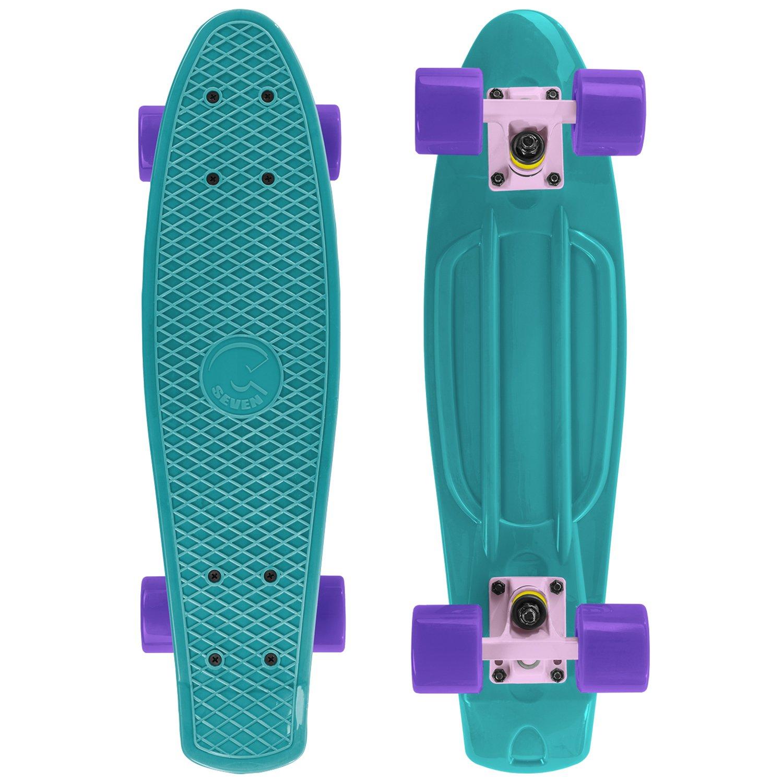 Cal 7 Mini Cruiser Skateboard Complete 22 Inch Standard Style Plastic Board Style (Teal/Pink/Purple)