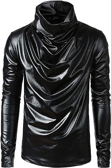 Sliktaa Camisa metálica para Hombre, Color Negro, Dorado y ...