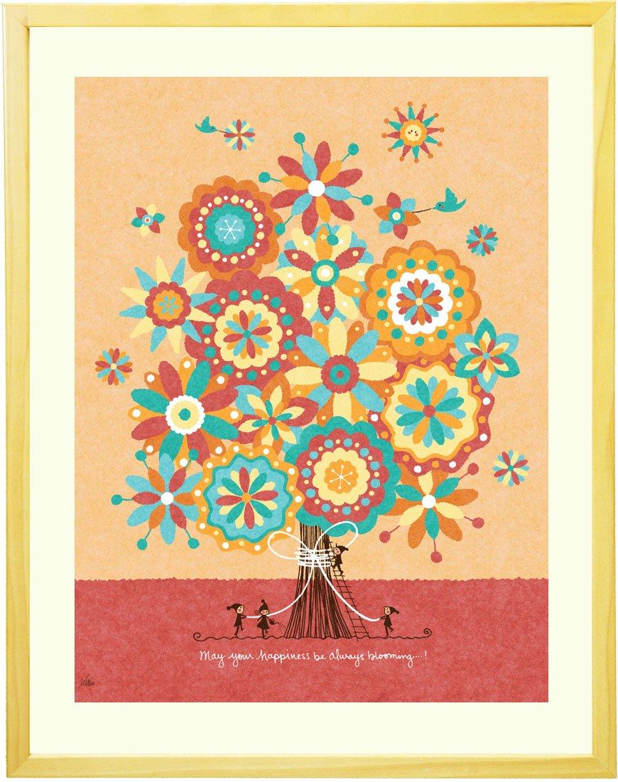 絵画 インテリア アート 「幸せの花束」 額入りLL(690×615mm) 花 玄関 リビング 病院 店舗 オフィス アートポスター 額付き 北欧 おしゃれ B01M72WGA7 LLサイズ LLサイズ