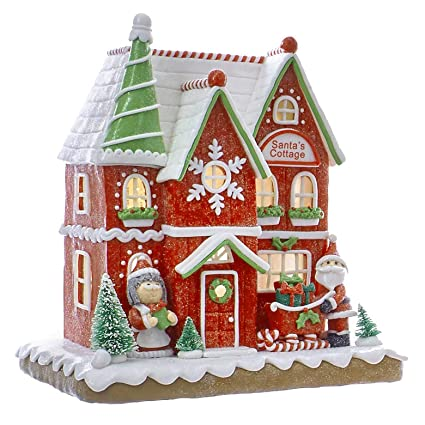 christmas decorations led lighted santas cottage gingerbread house - Gingerbread House Christmas Decorations