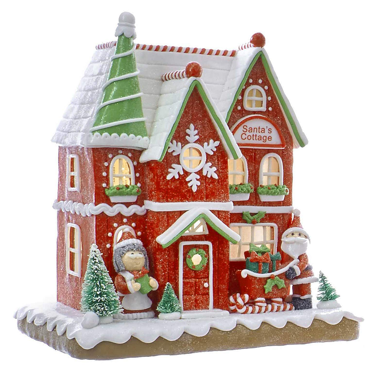 Christmas Decorations - LED Lighted Santa's Cottage Gingerbread House