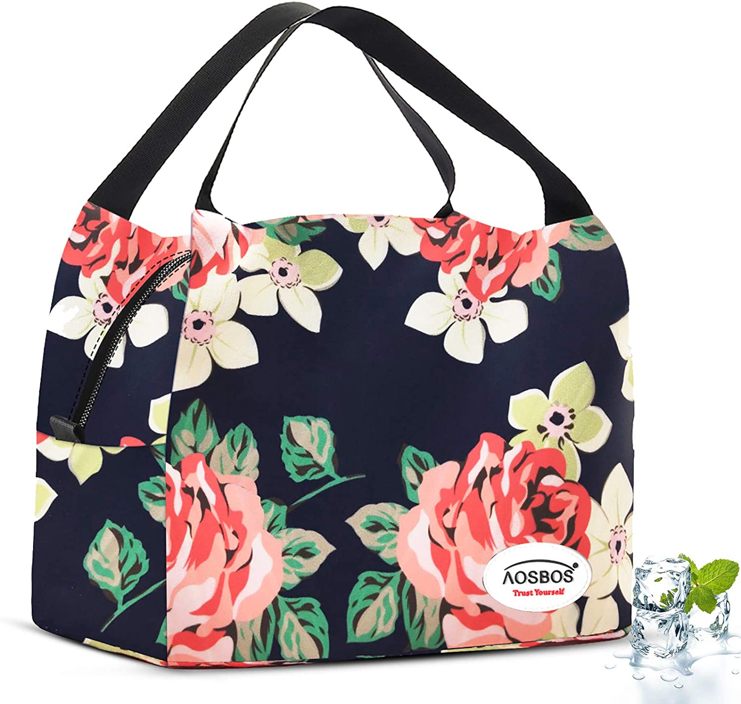 Aosbos Lunch Bags for Women Insulated Lunch Bag Soft Cooler Bag Floral Food Container Tote Bag Lunch Box Meal Prep Container for Work Picnic Office Red Peony Flower