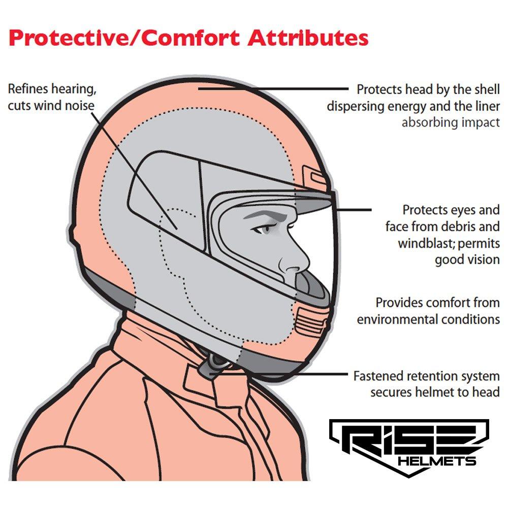 Amazon.es: RISE mate negro motocicleta casco w/2 viseras (claro y humo) - ligero Full Face, diseño de lunares (tamaño mediano)