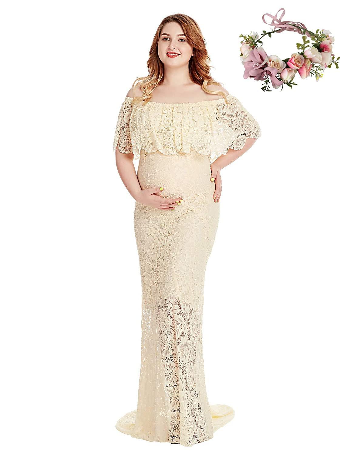 Beige YOFEEL Women's Off Shoulder Short Sleeve Ruffles Lace Maternity Gown Maxi Photography Dress