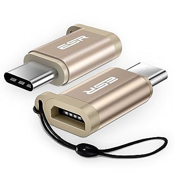 Amazon.com: ESR adaptador USB-C a Micro USB (OTG), Dorado ...