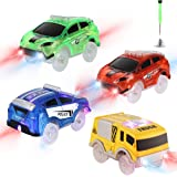 Save Unicorn Tracks Cars Replacement only, Toy Cars for Tracks Glow in The Dark, Car Tracks Accessories with 5 Flashing LED L