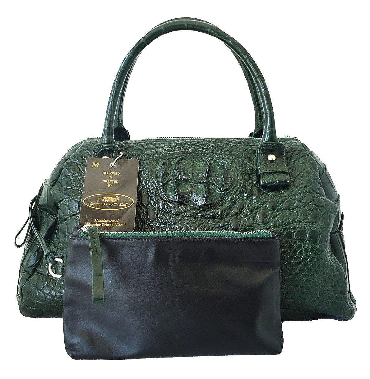 Authentic MクロコダイルスキンレディースバッグパースホーボーW /財布ソフトタッチハンドバッグ B071RYGYBN Shiny Dark Green