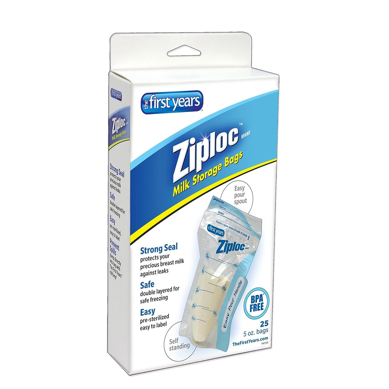amazon com the first years 25 pack ziploc brand milk storage bags