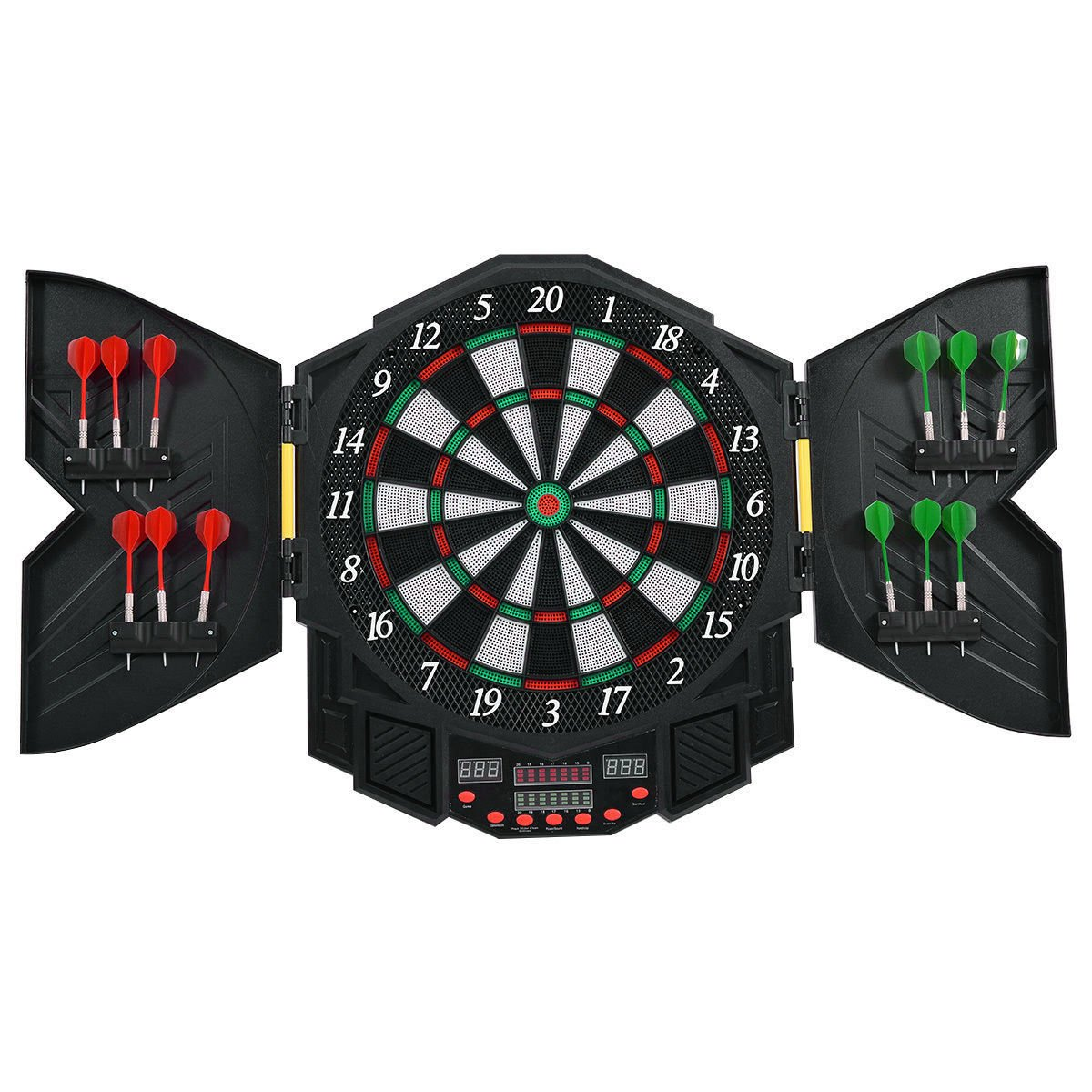 Eight24hours Professional Electronic Dartboard Cabinet Set w/12 Darts Game Room LED Display
