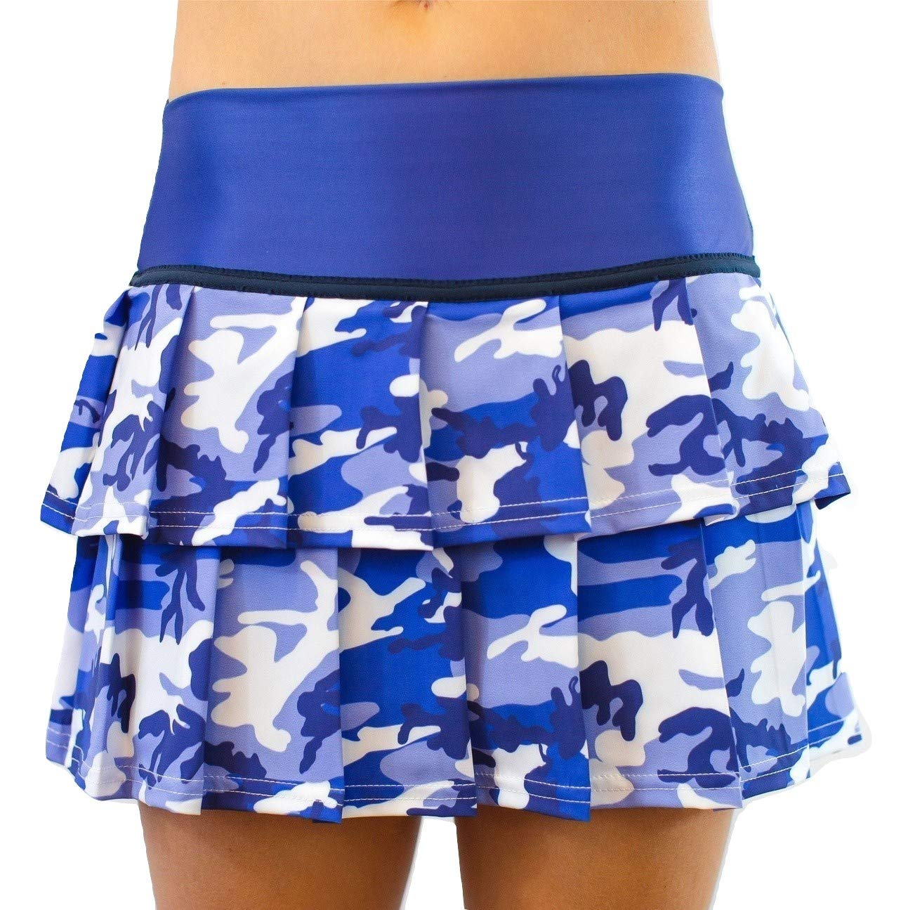 Faye+Florie Lisa 2 Tier Tennis Skirt (Blue Camo, X-Small)