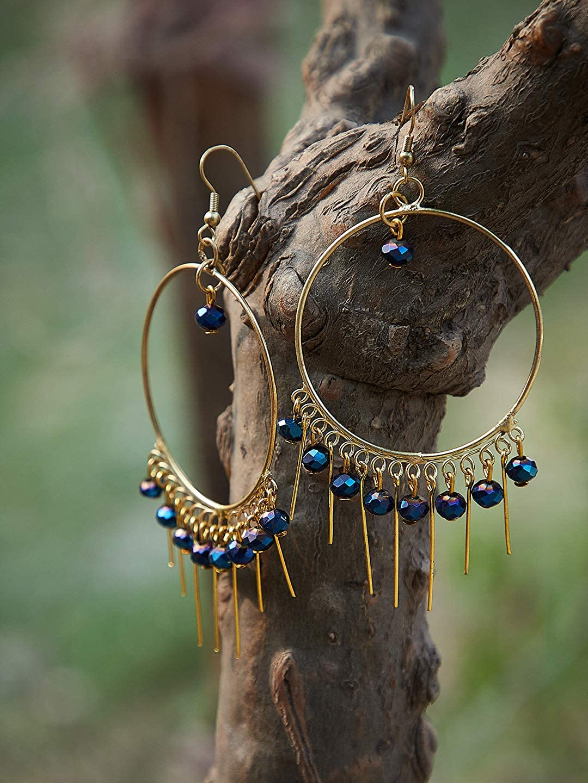 ZeroKaata/Fashion Jewellery Golden Hoop Earrings With Blue Beads For Women /& Girls