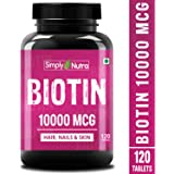 Simply Nutra Biotin 10000mcg (High Potency); Enhanced with Calcium; Supports Hair Growth, Glowing Skin and Strong Nails - 90 Capsules