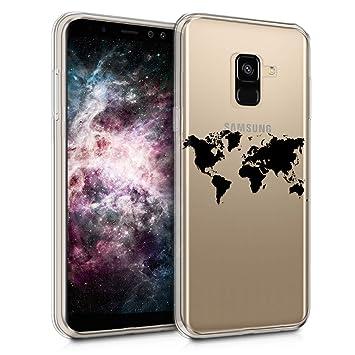 kwmobile Funda para Samsung Galaxy A8 (2018) - Carcasa de [TPU] para móvil y diseño de Mapa del Mundo en [Negro/Transparente]