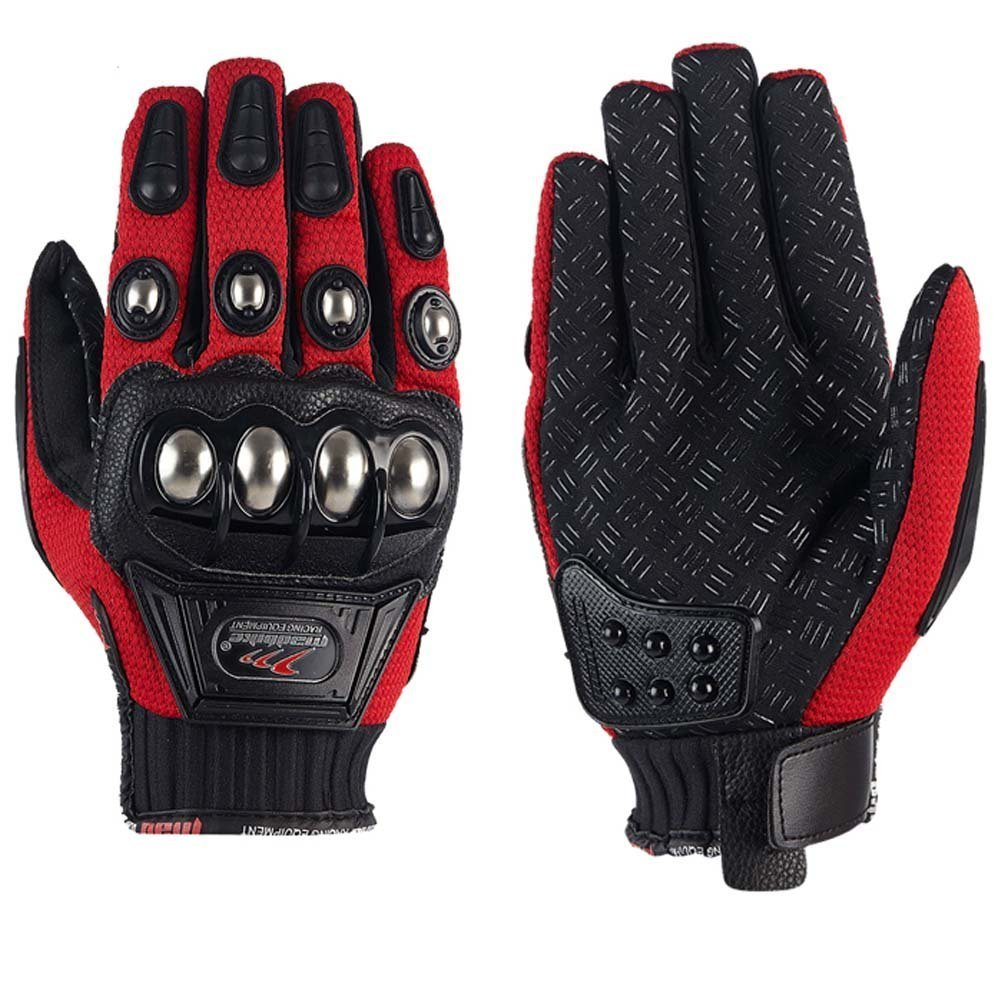 XIUJUN Steel Outdoor Reinforced Brass Knuckle Motorcycle Motorbike Powersports Racing Textile Safety Gloves