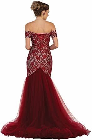 May Queen MQ1495 Red Carpet Mermaid Evening Dress (4, Burgundy)