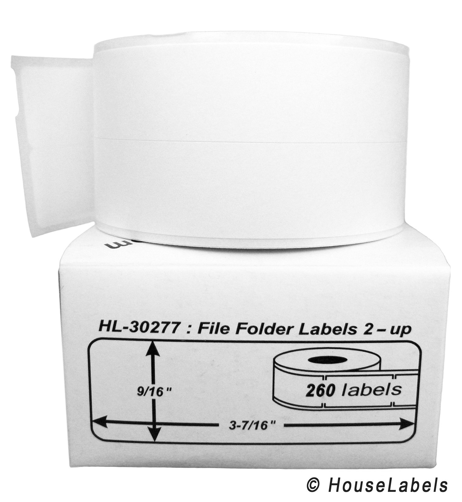 48 Rolls; 260 Labels per Roll of DYMO-Compatible 30277 File Folder Labels 2-Up (9/16'' x 3-7/16'') -- BPA Free!