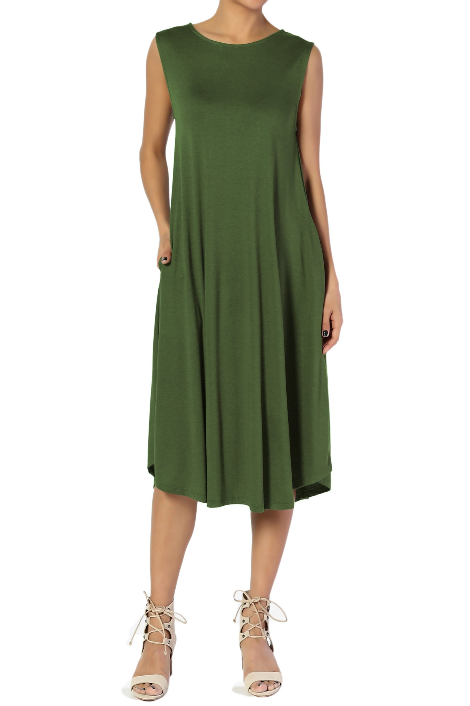 TheMogan Women's Sleeveless Pocket A-line Fit and Flare Midi Long Dress Army Green 1XL