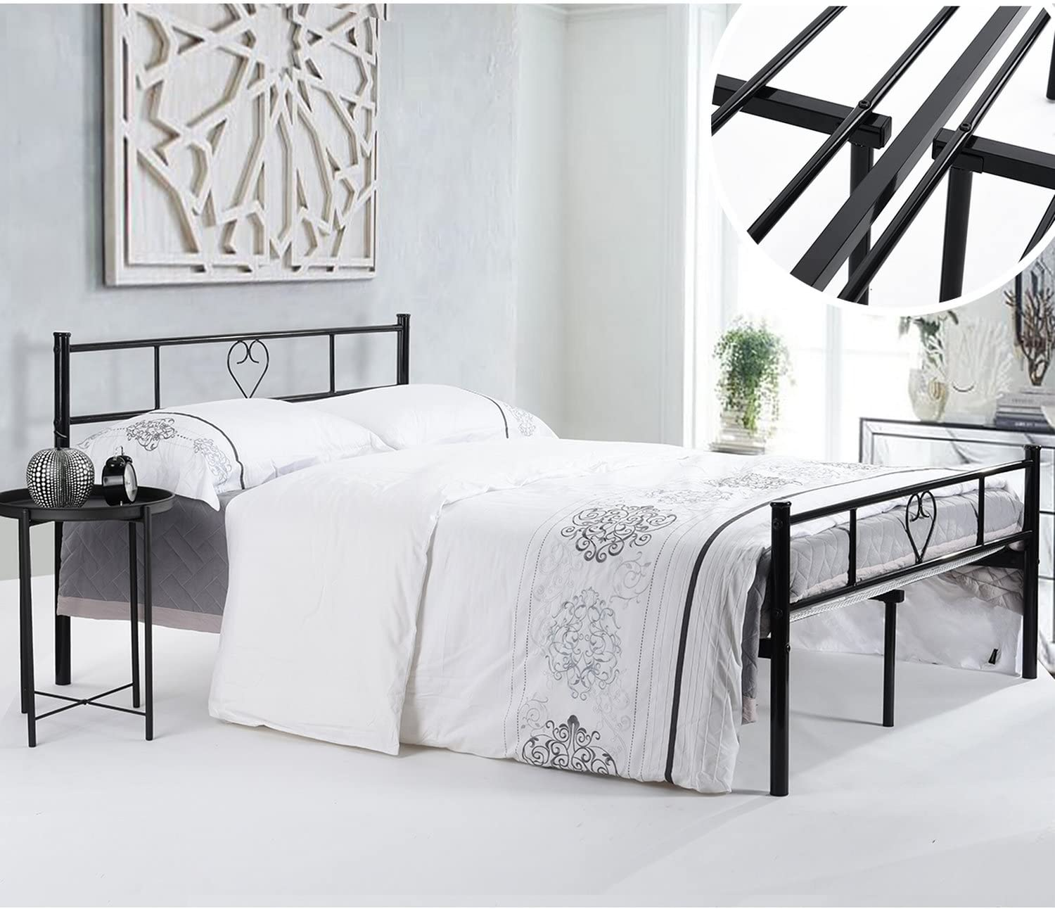 Homylin Metal Bed Frame Full Double Size With Heavy Metal Slats And Footboard Romantic Heart Design Style Black Amazon Ca Home Kitchen